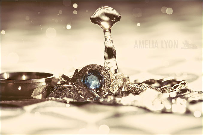 wedding ring with water dropped