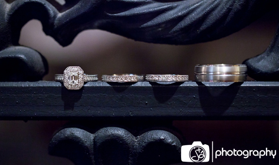 Ring shot on wooden ledge