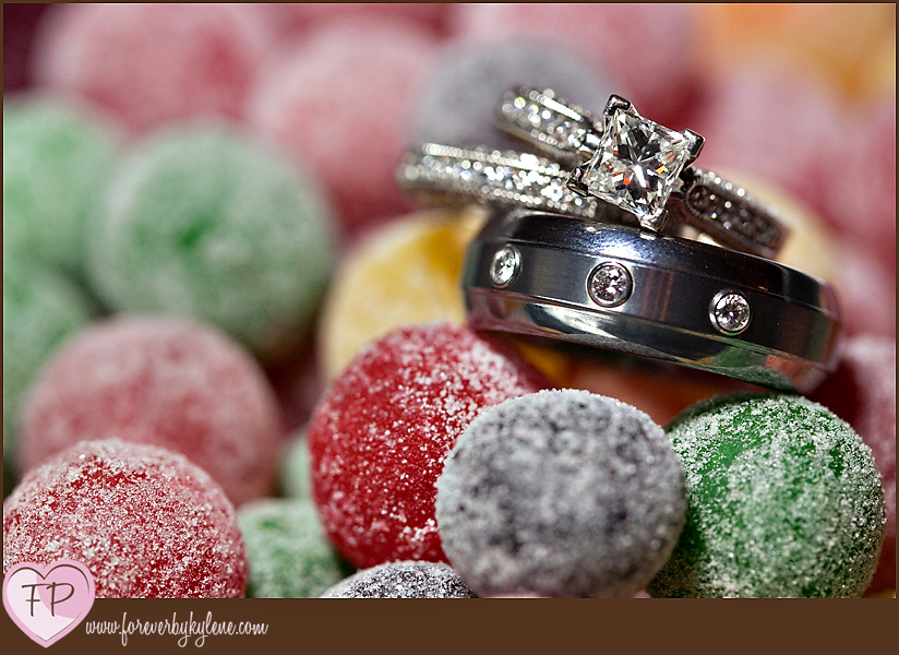 Ring shot in coloured candy